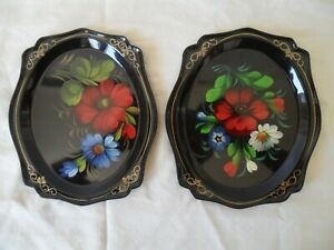 Vintage Russian Toleware Black Metal Tray Hand Painted Flowers