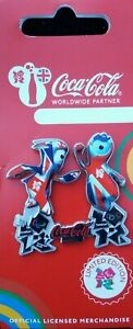 OFFICIAL LONDON 2012 OLYMPIC COCA COLA UNION JACK MASCOTS PIN BADGE BRAND NEW