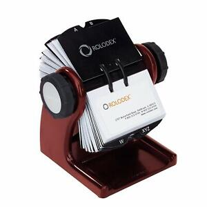 Rolodex Wood Tones Open Rotary Business Card File 200 card Mahogany