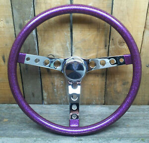 15 Purple Metalflake Steering Wheel Rat Hot Rod Custom Vtg Syle Gasser Vw H