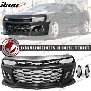 Fits 14 15 Chevy Camaro Ikon 6th Gen Zl1 Conversion Front Bumper W Drl Foglight