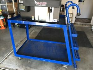Industrial Stock Picking Ladder Cart table rolls locks steel holds 600lbs 1of2