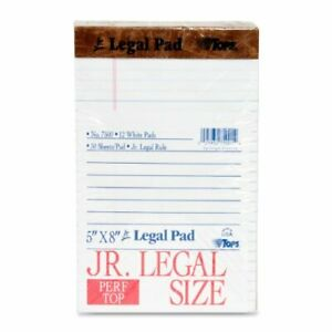 Tops The Legal Pad Ruled Perforated 50 Sheet 16 Lb Jr legal 5 X 8 12