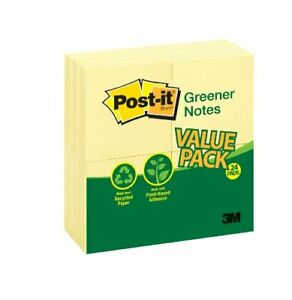 Post it Greener Notes Recycled Pads Self adhesive Repositionable 3 X 3