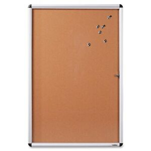 Lorell Enclosed Cork Bulletin Board 36 Height X 48 Width Natural Cork