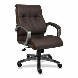 Lorell Managerial Chair Leather Brown Seat Back Frame 32 X 27 X 41