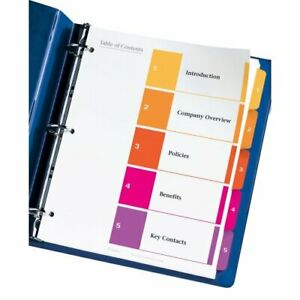 Avery Uncollated Index Divider Printed1 To 5 5 Tab s set 8 50 X 11 24