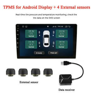 Usb Android Display Tpms Tire Pressure Monitoring Alarm System External Sensors