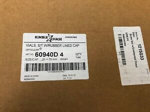 New Kimble Opticlear 60940d 1 15 X 45mm 1 Dram Screw Thread Vials W Caps 144 Ct