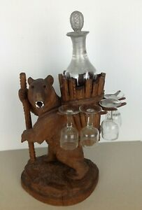 Old Fine Swiss Brienz Black Forest Hand Carved Bear Hige 14 Inch