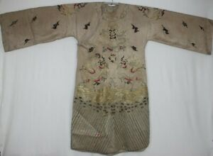 Chinese Old Hand Embroidery 10dragons Costume Long Robe
