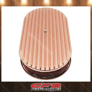 Chevy Ford Mopar 15 Oval Aluminum Air Cleaner Paper Filter Full Finned Copper