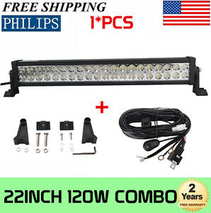 22 Inch 120w Combo Led Light Bar Offroad Driving Lamp Atv Boat 20 Wiring Kit
