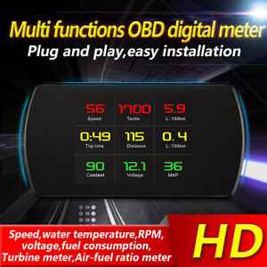 P12 Car Driving Onboard Computer Obd 2 Digital Meter Gauge Code Reader