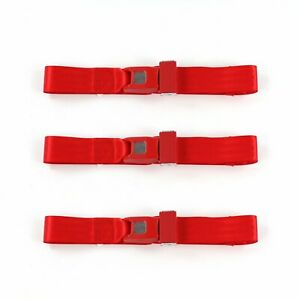 Chevy Corvair 1960 1969 Standard 2 Pt Red Lap Bench Seat Belt Kit 3 Belts