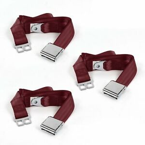 Dodge Charger 1966 1967 Airplane 2 Pt Burgandy Lap Bench Seat Belt Kit 3