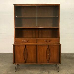 Mid Century Modern China Cabinet Bookcase Display Cabinet With Hairpin Legs