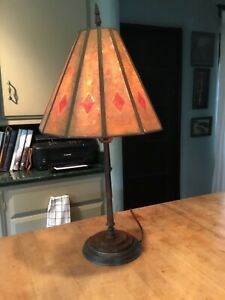 Arts Crafts Art Deco Rare Brass Table Lamp With Unusual Fan Shape Mica Shade