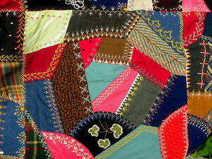 Antique Elegant Crazy Quilt From Old Maine Masterpiece Of Color And Embroidery