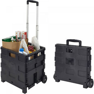 Collapsible Folding Rolling Smart Cart Wheels Groceries Shopping Basket Utility