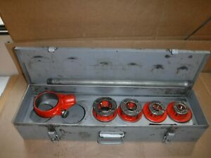 Ridgid 12 r 1 2 1 1 2 Npt Ratchet Threader Set 4 Dies With Case