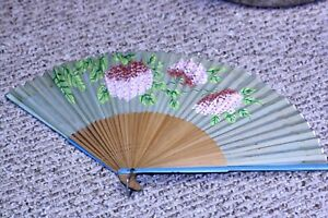 Vtg Silk Bamboo Floral Painted Hand Fan Occupied Japan 9 3 4 X 17 Tlc Needed