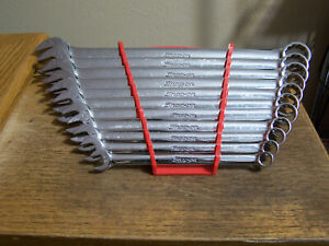 Snap On Oex711b Sae Flank Drive 12pt Combination Wrench Set 11 Piece 3 8 To 1
