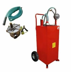 Wired Hose 30 Gallon Gas Caddy Tank Storage Drum Gasoline Diesel Fuel Transfer