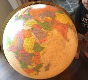 32 Replogle Diplomat Library Globe Lighted No Base Antique Color