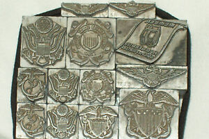 13 Vintage Letterpress Printers Blocks military And Hammermill Guild Of Printers