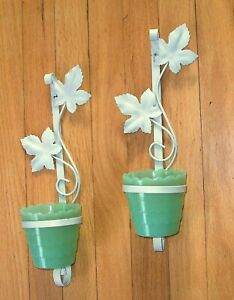 Vintage Antique Metal Wall Planters Scalloped Jadeite Pots Pair A Cond