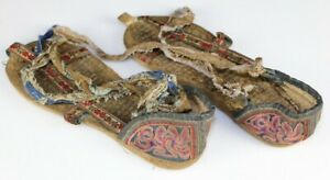 Vintage Tribal Chinese Ethnic Dong People S Old Hand Embroidery Sandle Shoe