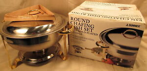 Sunnex Stainless Steel Chafing Dish 3 85 Us Qt 18 10 With Gold Accents 11 Tall