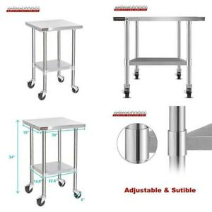 Durasteel Stainless Steel Work Table 30 X 18 X 34 Height W 4 Caster Wheels