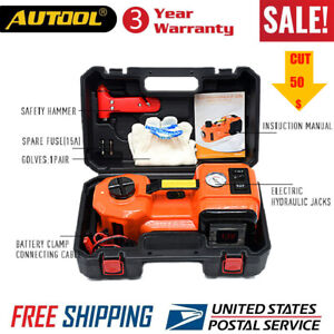 5t 12v Electric Hydraulic Floor Jack Tire Inflator Pump And Led Flashlight Usa