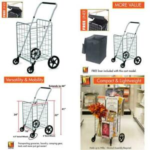 Wellmax Grocery Shopping Cart With Swivel Wheels Foldable Collapsible Utilit