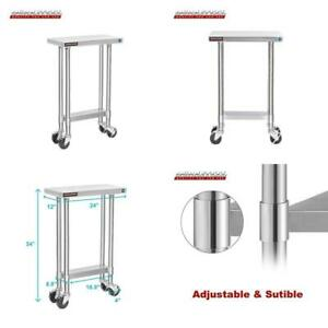 Durasteel Stainless Steel Work Table 24 X 12 X 34 Height W 4 Caster Wheels