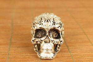 Cool Chinese Old Copper Casting Skull Statue Netsuke Collectable Hand Piece