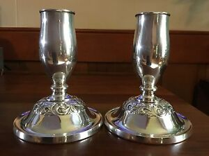 2 Towle Sterling Silver Old Master Weighted Console Candleholders Tulip Shaped