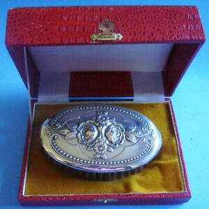 Amazing Vtg Sterling Silver Flowers Roses Daisies Ornate Repousse Brush In Case