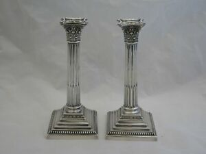 Pair Of Awesome Antique English Sterling Silver 9 5 Tall Column Candlesticks
