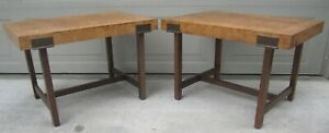 Pair Olive Burl Bronze Side End Coffee Tables Drexel Henredon Era Mid Century