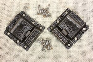 2 Cabinet Catches Cupboard Latches Vintage 1871 Cast Iron T Knob Old Matched Set