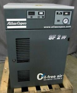 Atlas Copco Sf2 ff 3hp Oil free Scroll Air Compressor 844 Hours Of Use