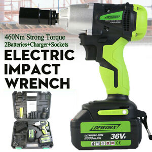 21v 1 2 Cordless Electric Impact Wrench Gun Fast Charge 2 Batteries Garage Tool