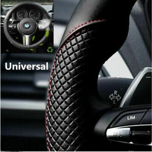 Noble Black Red Microfiber Leather Car Steering Wheel Cover Anti Slip Protector