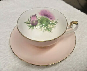 Vintage English Bone China Pink Floral Tea Cup And Saucer Made By Shelley