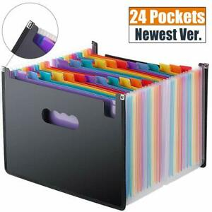 Expanding File Folder 24 Pockets Multi color Accordion A4 Document Organizer
