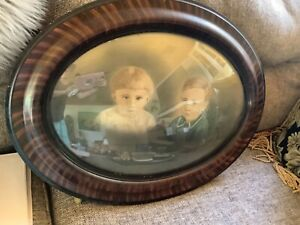 Vtg Large Oval Convex Convex Glass Tiger Oak Wood Frame Bubble Glass Wooden