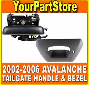 For 02 06 Avalanche Tailgate Handle Bezel Trim Tail Gate Pull Release Textured